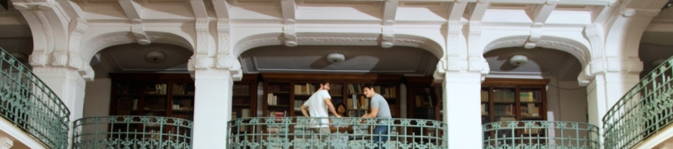 Two students on second floor of library