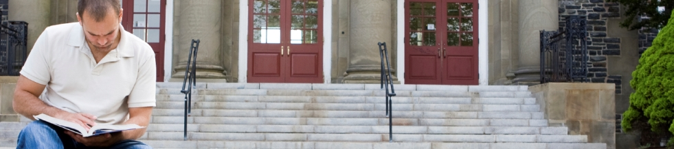 Male student on steps